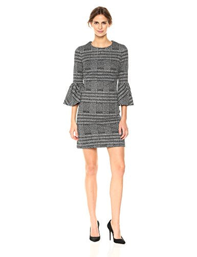 Calvin Klein Women's Plaid Bell Sleeve Dress