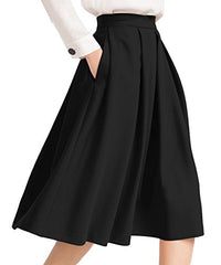 Yige Women's High Waist Flared Skirt Pleated Midi Skirt with Pocket