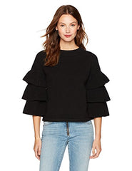 Women's Sweater Cable Stitch Tiered Ruffle-Sleeve