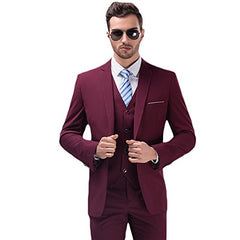 Men's Solid 3-Piece Suit Slim Fit Notch Lapel One Button Tuxedo