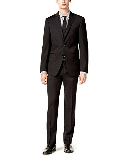 Calvin Klein Men's Suit X Slim Fit 2 Piece Wool Black 2 Button Side Vents Jacket Flat Front Pants