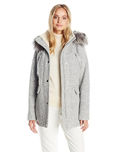 Nautica Women's Novelty Wool Anorak with Faux Fur Trim Hood