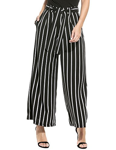 Zeagoo Women's Stripe Wide Leg High Waist Belted Palazzo Harem Pants