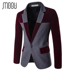 MOGU 2017 Blazers for Men Wool Blends Contrast Color Slim Fit Big Size Casual