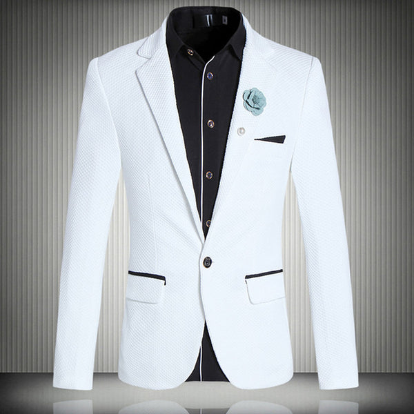 MOGU White Blazer For Men One Button Closure Slim Fit