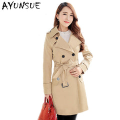 2017-18 Women Clothing Autumn-Winter Double Breasted Md-long Coat Plus Size