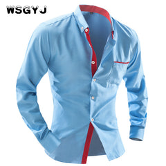 WSGYJ 2017/18 Men's Fashion Shirt British Fashion Wave Point Slim Square Collar Long-Sleeved Size 4XL