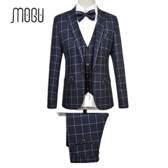 MOGU 2017 New Latest Coat Pant Designs Fashion Plaid Suits Slim Fit 3 Piece For Men
