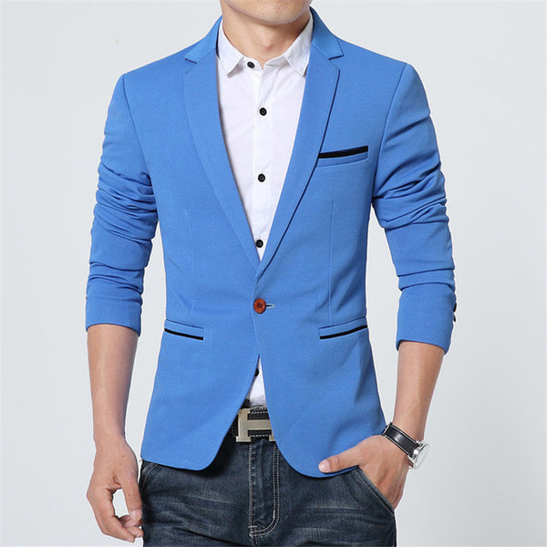 2017-18 New Spring Autumn thin Casual Men Blazer Cotton Slim England Suit Size M-5XL