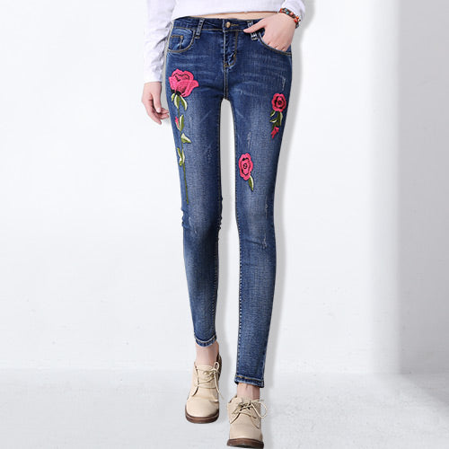 Stretch Embroidered Jeans For Women Elastic Flower Jeans Female