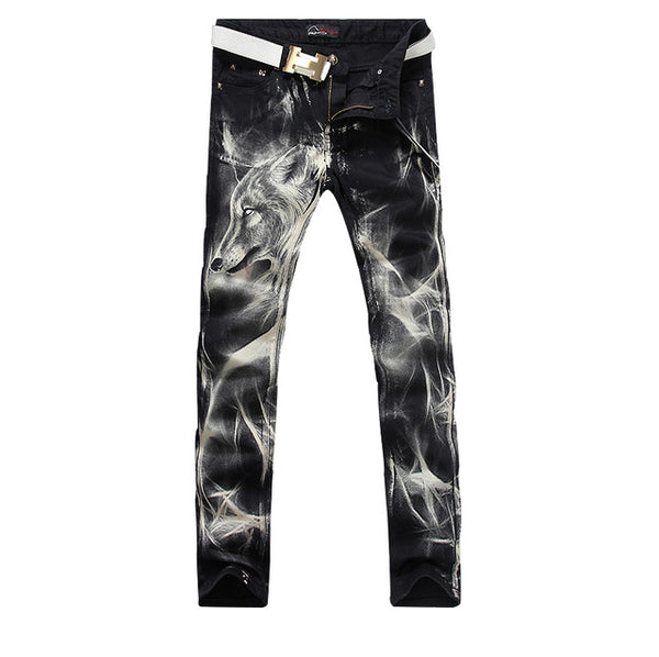 New fashion Men's wolf  printed jeans Black stretch jeans high quality designer pants