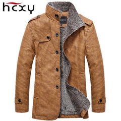 HCXY Brand 2017-18 Men's Winter Jacket PU Leather Motorcycle