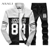 Mens tracksuit Set 2017 sportswear Exercise polo suit Autumn winter men sweatshirt jogger pants