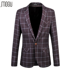 MOGU 2017 Fitted Men Blazers Plus Size 6XL Cotton Blazer Plaid Slim Casual Jackets