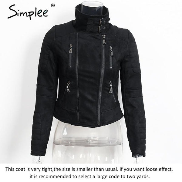 Simplee Faux leather outerwear & coats Short slim basic jackets