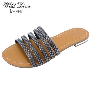 Garner-01 - Wild Diva Rhinestone Fashion Slippers - ShoeFad
