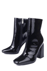 Victory - Cape Robbin Chunky High Heel Faux Leather Ankle Booties - ShoeFad
