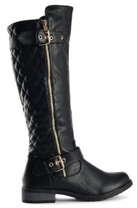 Mango-21 - Forever Link Side Zipper Knee High Dual Buckle Leatherette Boots - ShoeFad