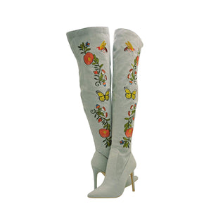 Mini-110 - Cape Robbin Thigh High Embroidered Stiletto Heels Boots - ShoeFad