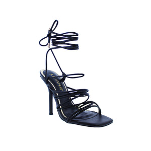 Iman-1 By Liliana - Strap Block Heel Ankle Lace Up Tie Sandal