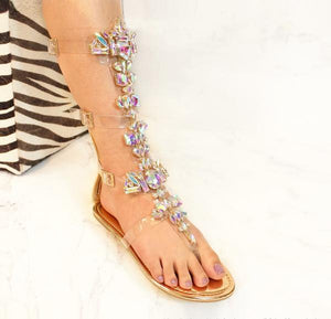 Marlow-30 By Liliana Gladiator Clear Strappy Rhinestone Sandal - ShoeFad