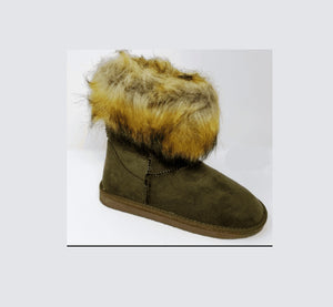 Top-1 - Rasolli Faux Fur Collar Low Heel Ankle Booties - ShoeFad