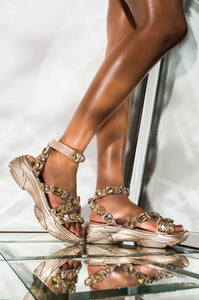 Statement - Cape Robbin Chunky Jeweled Ankle Strappy Sandal - ShoeFad