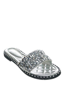 Tia-01 - Wild Diva Women's Sparkle Metallic Open Toe Flat Sandals - ShoeFad