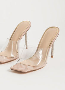 Vita-01 By Liliana Crystal Transparent Square Toe Heels Sandals - ShoeFad