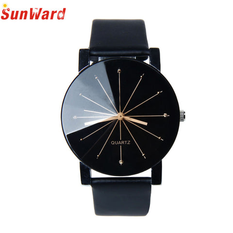 Miracle Moment New Arrival Men's Quartz Dial Clock Leather Wristwatch Round Case