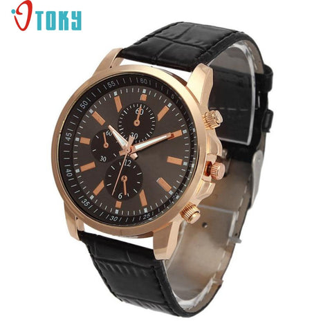 Casual Quartz Wristwatch Geneva Quartz Clock Leather Strap