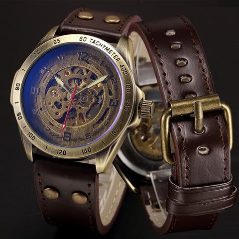 Automatic Mechanical Skeleton Wristwatch Antique Bronze Retro Leather
