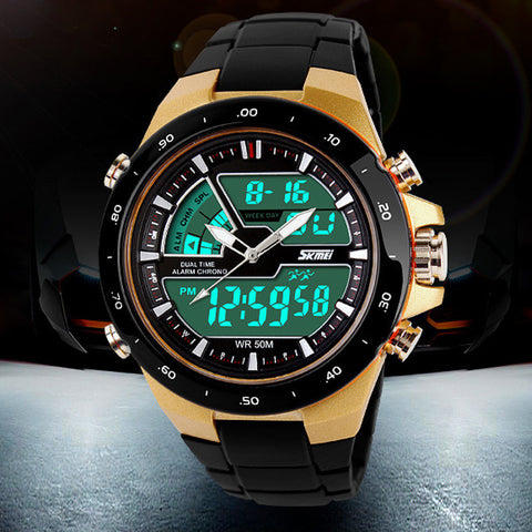 50M Waterproof, Shockproof Men's Sport Wristwatch Silicone Band
