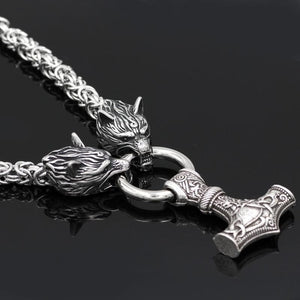 Handmade Stainless Steel Wolf Head Chain with Mjolnir