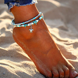 Bohemian Starfish Turtle Beads Anklets for Women