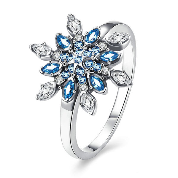 Crystal Floral Snowflake Silver Ring