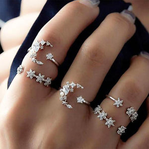 Mystic Moonlight Crystal Ring Set