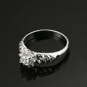 Snow Zircon Flower Ring
