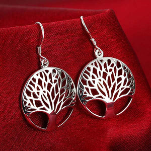Tree of Life Lucky Silver Plated Pendant Necklace & Earrings Bracelet Jewelry Set
