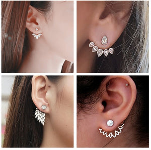Pearl Heart Crystal Flower Leaf Angel Wings Geometry Stud Earrings For Women