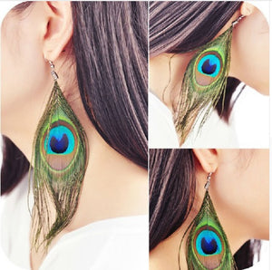 Simple Peacock Feather Vintage Luxury Long Dangle Earrings