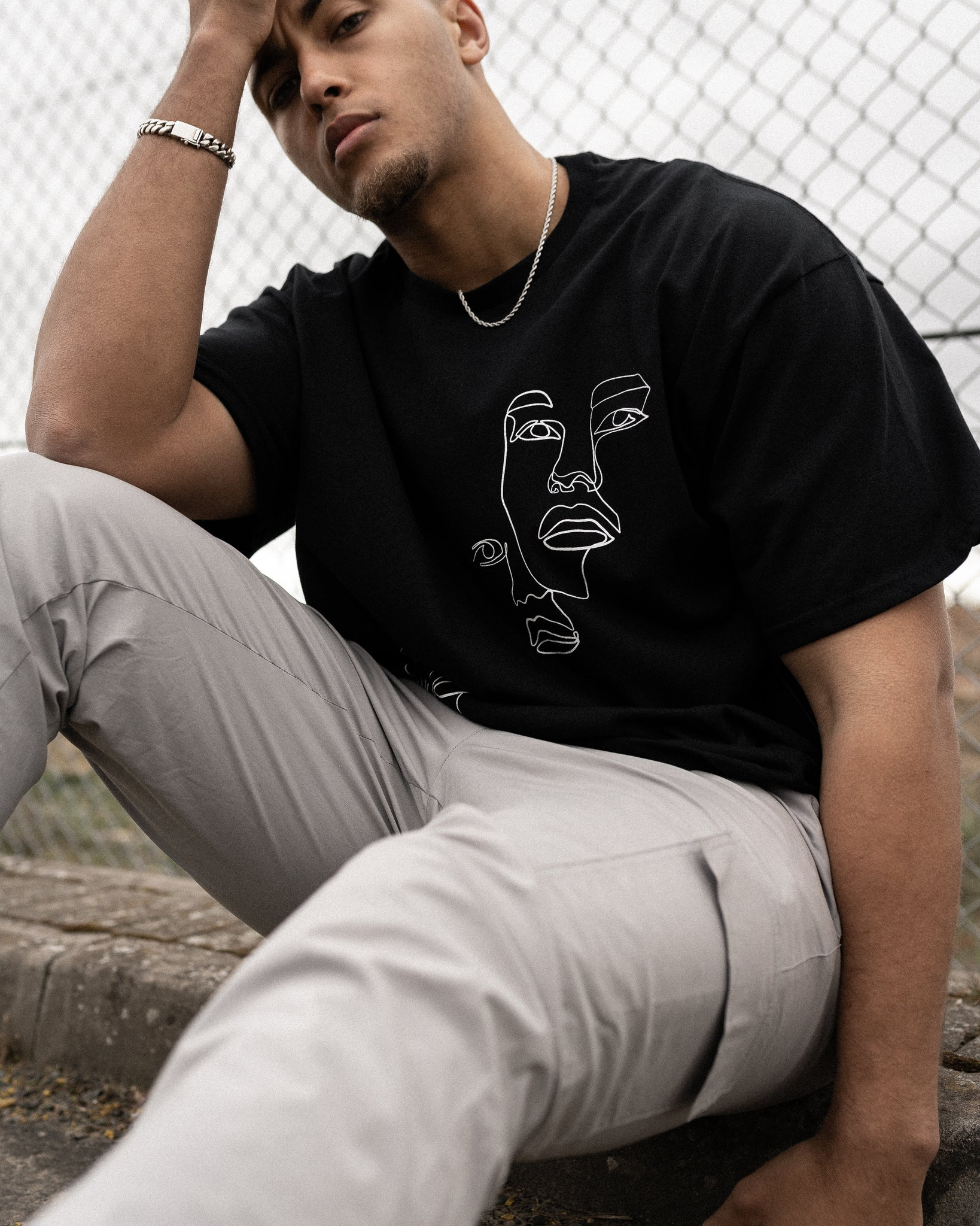 """TWO FACED"" OVERSIZED T SHIRT - BLACK"