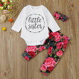 "The Flora: ""Little Sister"" 3 Piece Set Onesie + Pants + Headband"