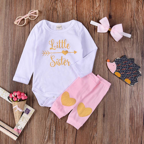 The Anna: Little Sister Set Onesie + Leg Warmers + Bow Headband (3 Piece Set)