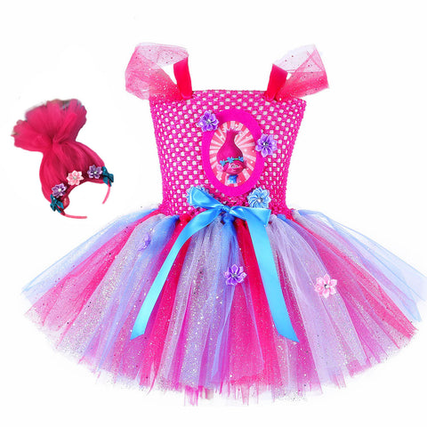 Princess Poppy Tutu Dress with Pink Troll Hair Headband (2 Pieces)