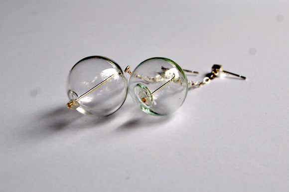 women's glass sphere holistic healing moonstone earrings