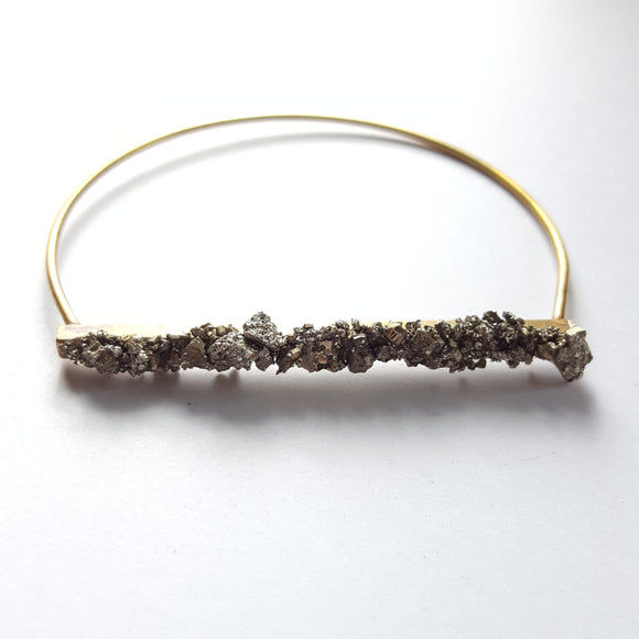 Brass Bangle - Pyrite Bangle - Dainty Shiny Bracelet - Pyrite on Brass