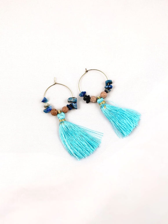 Earrings Gemstone & Fringe Hoops - Lapis and Grain Stone