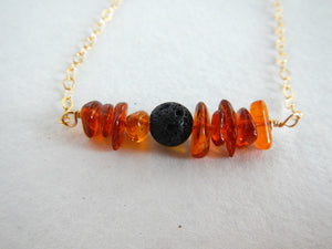 Necklace - Gemstone & Lava Stone Necklace - Diffuser Necklace - Essential Oil