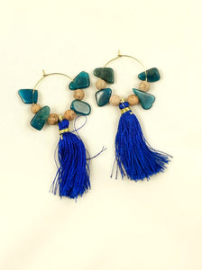 Earrings - Hoops - Gemstone & Fringe Hoops - Apatite & Grain Stone